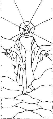 Ascension Line Art Drawing - Bethel Chapel Church, Poplar Bluff, MO 2005 & 2008, by Sandy (Johnson) Burnett, (formerly Glass with a MIssion, Art-Attack-Studios, GlassMoose.com)