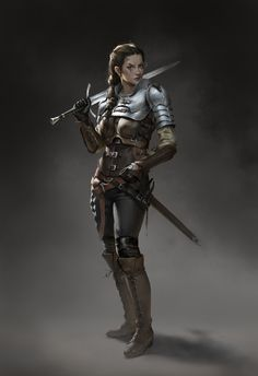 f Ranger Medium Armor Longsword Shortsword female Night fog undercity lg Fantasy Female Warrior, Female Armor, Female Knight, Fantasy Armor, Woman Warrior, Dungeons And Dragons Characters, Dnd Characters, Fantasy Characters, Female Characters