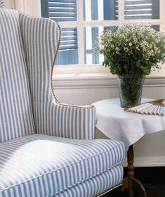 Blue & White striped Wingback from Victoria magazine, June 1993.