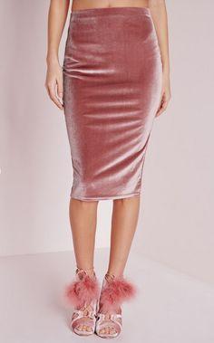 13 Ways to Wear Velvet this Spring | Velvet Midi Skirt Dusty Pink; $15.30; at Missguided