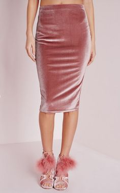 13 Ways to Wear Velvet this Spring | Velvet Midi Skirt Dusty Pink; $15.30; at Missguided