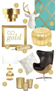 Could so see this wallpaper, leather ottoman and tray forming the basis of one stylish dresser.   Go Gold | theglitterguide.com