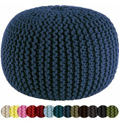Tons of colors - good to remember for our basement when done.... Cotton Craft - Hand Knitted Cable Style Dori Pouf - Blue - Floor Ottoman - 100% Cotton Braid Cord - Handmade & Hand stitched - Truly one of a kind seating - 20 Dia x 14 High