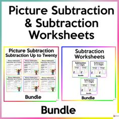 Help your students master the skills of subtraction up to twenty and subtracting two-digit by one-digit, two-digit by two-digit, and three-digit by one-digit. These worksheets are a must-have for Math centers, it is also great for practice, and could be assigned for homework. No prep needed. Printer... School Resources, Classroom Resources, Math Resources, Math Activities, Classroom Organization, Classroom Management, School Stuff, Back To School, Subtraction Worksheets