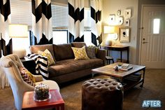 I like the incorporation of black with the brown couch...I have a brown couch and want to do something different with me living room.