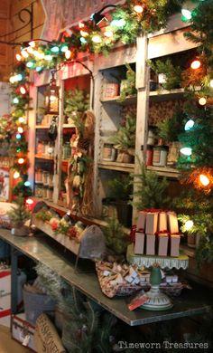 Christmas At The Farm @ Timeworn Treasures - Gotta love the old fashioned large Christmas bulb lights  Christmas decorating, retail Christmas displays   Timeworn Treasures | Danville PA