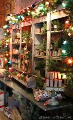 Christmas At The Farm @ Timeworn Treasures - Gotta love the old fashioned large Christmas bulb lights  Christmas decorating, retail Christmas displays   Timeworn Treasures | Danville PA