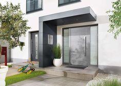 Eingangsüberdachung in L-Form. Verkleidet mit Trespa Fassadenplatten