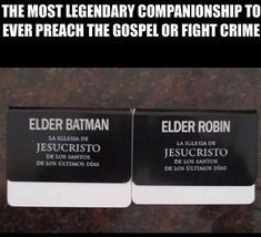 My dad actually had 2 companions that were Elder Batman and Elder Robinson! - Batman Funny - Ideas of Batman Funny - My dad actually had 2 companions that were Elder Batman and Elder Robinson! Funny Church Memes, Funny Mormon Memes, Church Jokes, Lds Memes, Lds Church, Lds Quotes, Funny Quotes, Saints Memes, Later Day Saints