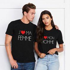 "T-shirt couple ""J'aime ma Femme / J'aime mon Mari"" T-shirt Couple, I Love My Wife, Couple Tshirts, Marie, T Shirt, Husband, Couples, Tops, Women"