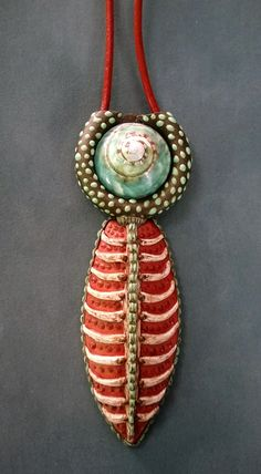 Polymer clay pendant with shell by Shelley Atwood