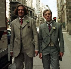 """Stephen Fry and Jude Law while shooting """"Wilde"""", (1997)."""
