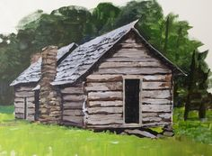 Look at this log-cabin created using a palette knife coming soon to ArtTutor