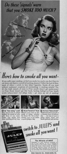 This ad relates to chapter 4 when it talks about the rationalizing animal. The ad gives you specific reasons you should avoid smoking although there are much more important ones, but then it goes on to tell you all about how this product is going to solve all those problems and now you can justify to yourself that smoking won't be bad for you because you switched to this brand.