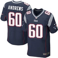 NFL New England Patriots David Andrews Mens Elite Home Navy Blue #60 Jersey