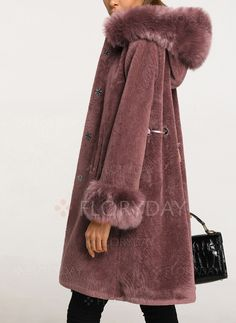 Coats - $112.19 - Faux Fur Long Sleeve Hooded Buttons Coats (01715239069)