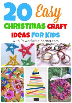 20 Easy Christmas Craft Ideas for Kids - button gingerbread men, stained glass nativity, bubble wrap Christmas tree Preschool Christmas, Christmas Crafts For Kids, Christmas Activities, Craft Stick Crafts, Christmas Projects, Christmas Themes, Winter Christmas, Holiday Crafts, Holiday Fun