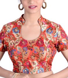 Orange Khimkhab Designer Blouse - BL30025 | Indian Silk House Agencies