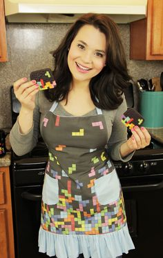 Tetris apron worn by Rosanna Pansino on Nerdy Nummies - watch her on YouTube, she made Tetris cookies! Apron by Huckleberry Baby on Etsy, $58.00