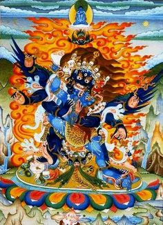 Vajrakilaya, a wrathful meditation deity, with consort. He brings instant release from all obstacles and is the main mantra/mandala practice of lamas who carry on the tradition of Bardo Thodol, the Tibetan Book of the Dead.