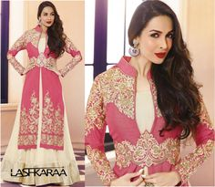 Be the show-stopper and dazzling diva with the delightful combination of Pink and Cream crafted over a #LehengaCholi exclusively flaunted by the amazing #Malaika #Arora #Khan directly from celebrity closet outlet. #Lehenga #Lehengas #designerlehenga #lehengaonline
