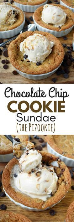 Mini Individual Chocolate Chip Cookie Sundae (Pizookie). The best chocolate chip cookie dough with a few secret techniques. The individual pizookies are baked in a ramekin until the edges are golden brown and the center is warm and gooey. The warm chocolate chip cookie is topped with ice cream. It's the most heavenly dessert! http://www.modernhoney.com