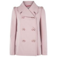 Red Valentino Lightweight Pea Coat (€815) ❤ liked on Polyvore featuring outerwear, coats, double-breasted coat, double breasted peacoat, pink peacoat, pink coat en pastel coat