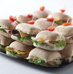 Leave the cooking to us and order a party platter of mini ciabatta rolls stuffed with premium Di Lusso meats, cheeses and crisp leaf lettuce for your next tailgate.