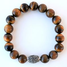 Sterling Silver & Tiger Eye men's bracelet