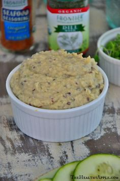 White bean and dill spread: 1 can (19 ounces) organic cannellini beans, 2 Tbsp. extra virgin olive oil, 2 tsp. freshly squeezed organic lemon juice, ¼ tsp. sea salt, 1 Tbsp. finely chopped fresh dill, ¼ tsp. freshly ground black pepper, ¼ cup organic sprouts (for serving)