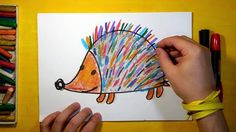 How to draw a Hedgehog with colored needles