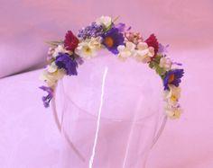 Summer meadow Floral headband flowergirl accessory Bridal wedding faerie costume fairy hair flowers on etsy 18eur