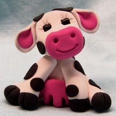 Cute Little Cow Polymer Clay Sculpture White with Black Spots | CreativeCritters - Dolls & Miniatures on ArtFire