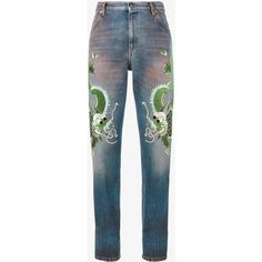 Gucci Embroidered Dragon Jeans (98.145 RUB) ❤ liked on Polyvore featuring jeans, bottoms, pants, blue, pantalon, gucci, multicolor jeans, gucci jeans, multi colored jeans and dragon jeans