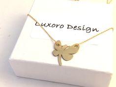 Naszyjnik pozłacany motyl  - LuxoroDesign - Naszyjniki pozłacane
