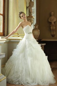 Floor length ball gown. Soft ruffles and a small bling belt. Beautiful but I would remove the feathers things at the top tho