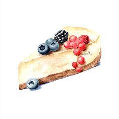 Radha namini : Blueberry Raspberry Cheesecake Cake Sketch, Food Sketch, Cake Drawing, Food Drawing, Recipe Book Design, Desserts Drawing, Food Art Painting, Recipe Drawing, Sweet Cafe