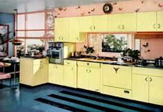 If you're restoring a Fifties kitchen, more often than not you will find items that closely approximate those of today: unified cabinetry, wall oven, attention to ergonomics, electric or gas appliances, dishwashers.