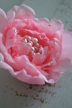 Peony Hair Clip Pink Hair Flowers Wedding Hair by JanaRoyaleDesign