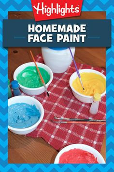 Did you know you can make your own DIY face paints using just 4 household ingredients? This would be a perfect addition to a last-minute Halloween costume! Craft Activities For Kids, Projects For Kids, Diy For Kids, Crafts For Kids, Fun Crafts, Diy Face Paint, How To Face Paint, Painting For Kids, Diy Painting