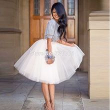 2016 Fashion Delicate 5 Layers Women Knee Length Summer Adult Tutu Tulle Skirts For Wedding Party Plus Size Vestidos(China (Mainland))