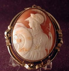 Huge And Fine Cameo Of Athena Dressed For Battle.  She Has The Owl On Her Shield And Medusa On Her Breastplate Set In 15k Gold  c. 1850