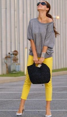 love the slouchy top and the bright pants. Maybe not in yellow for me personally, but still...super cute