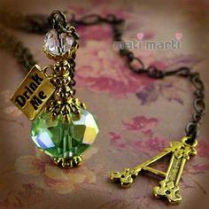 Alice In Wonderland Crystal Vial Bottle Necklace Drink Me