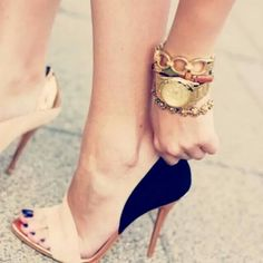 Nude | Black strappy heels #Shoes @JenniferW