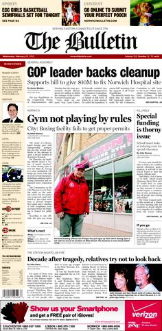 Wednesday, February 20, 2013 - Subscribe to The Bulletin today: http://www.norwichbulletin.com/carousel/x1789233765/ONLY-IN-PRINT-Stories-exclusively-in-today-s-Bulletin #ctnews #newlondoncounty #windhamcounty