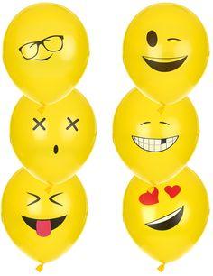 6 Globos látex Imoji™ 24: Este lote de globos Emoji se compone de 6 globosamarillosde látex.Representan a los emoticonos con expresiones diferentes.Pueden medir hasta unos 24cm una vez inflados.Son...