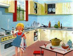 Mondorama 2000: A la cuisine, fanny devant la cuisinière à gaz, re...