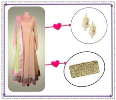 Add a hint of sparkle to your look with a pastel perfect anarkali and gold earrings by Eina Ahluwalia and a Poornima Nair glitter clutch