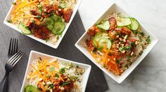 cucumber-thai-peanut-chicken-bowls and refrigerator pickles